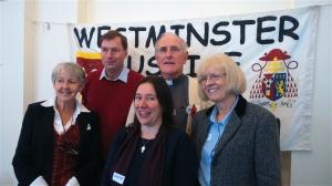 From left to right: Barbara Kentish, John Hills, Fr Joe Ryan, Collete Joyce, Helen O'Brien