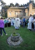 Fr Norbert Fernandes blesses the Peace Garden